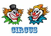 Colorful circus clowns characters — Stock Vector