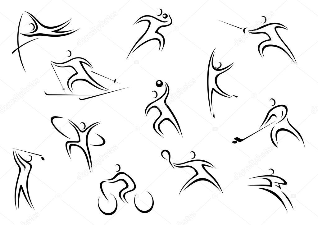 Line Art Xl 2000 : Conjunto de caracteres desenho linha esportista