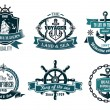 Blue nautical and sailing themed banners or icons — Stock Vector #54259925