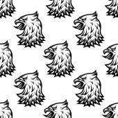 Stylized black eagle seamless pattern — Stock Vector