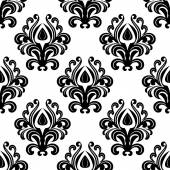 Black floral damask seamless pattern — Stock Vector