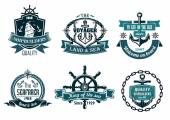 Blue nautical and sailing themed banners or icons — Stock Vector