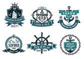 Banners temática náuticas y vela azules o iconos — Vector de stock
