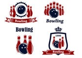 Sporting bowling emblems and symbols — Stock Vector