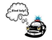 Cartoon police car character — Stock Vector