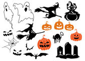 Halloween themed design elements and characters — Stock Vector
