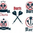 Darts icons, emblems or symbols — Stock Vector #54260037