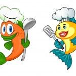 Cartoon chef fish characters — Stock Vector #54260263