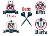 Darts icons, emblems or symbols — Stock Vector