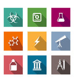 Flat science and education icons set  — Stock Vector