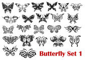 Butterfly silhouette icons  — Stock Vector