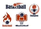 Basketball sport team emblems and symbols — Cтоковый вектор