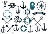 Nautical themed design elements — Stock Vector