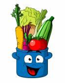 Healthy fresh vegetables in blue pot — Stock Vector