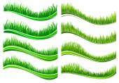 Green colored grass borders  — Vetorial Stock