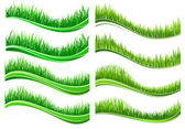Green colored grass borders  — Vector de stock