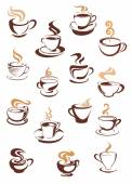 Steaming coffee cups set — Stock Vector