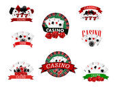 Casino and gambling badges, icons or emblems — Stock Vector