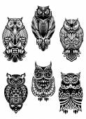 Tribal owl birds set — Vettoriale Stock