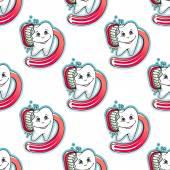 Cartoon Zahn und Pinsel nahtlose Muster — Stockvektor
