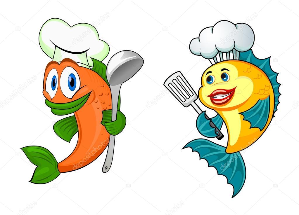 Cartoni animati di pesce chef — vettoriali stock
