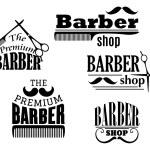 Black retro barber shop icons — Stock Vector #54734025