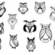 Cute owls and owlets — Vector de stock  #54734059