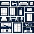 Flat office and home furniture silhouette icons — Stock Vector #54734195