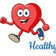 Running healthy red heart character — Stock Vector #54734235