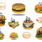 Happy takeaway cartoon hamburger characters — Stock Vector #54734335