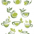 Green or herbal tea icons — Stock Vector #54734377