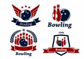 Bowling themed emblems and icons — Stock Vector