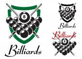 Billiards and snooker retro emblems set  — Stock Vector