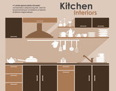 Kitchen interior in flat infographic style  — Stock Vector
