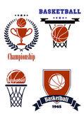 Basketball sporting symbols or logos  — Stock Vector