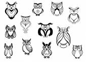 Cute owls and owlets — Vetorial Stock