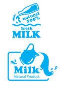 Atural Milk labels or badges — Stock Vector