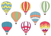 Flying colorful hot air balloon icons — 图库矢量图片