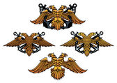 Double headed imperial nautical eagle icons — Stock Vector