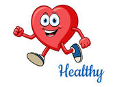 Running healthy red heart character — Stock Vector