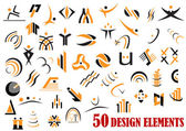 Fifty abstract design elements in black and yellow — Stok Vektör