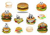 Happy takeaway cartoon hamburger characters — Stock Vector