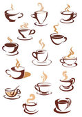 Hot brown coffee icons — Stock Vector