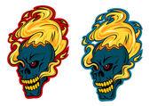 Alev alev yanan kafatasları karakterler — Stok Vektör