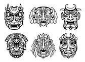 Religious masks in tribal style  — Vetorial Stock