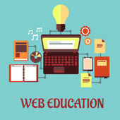 Web education flat concept — Stock Vector