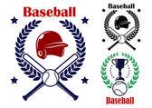 Three Baseball emblems or badges — Stock Vector