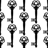 Seamless background pattern of antique keys — Stock Vector