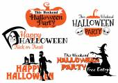 Halloween party banners set — Stock Vector