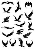 Flying eagle, falcon and hawk vector icons — Stock Vector